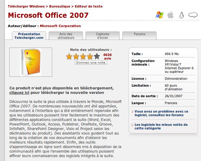 Disque de microsoft office 2007 perdu - Telechargement gratuit office 2007 avec cle ...