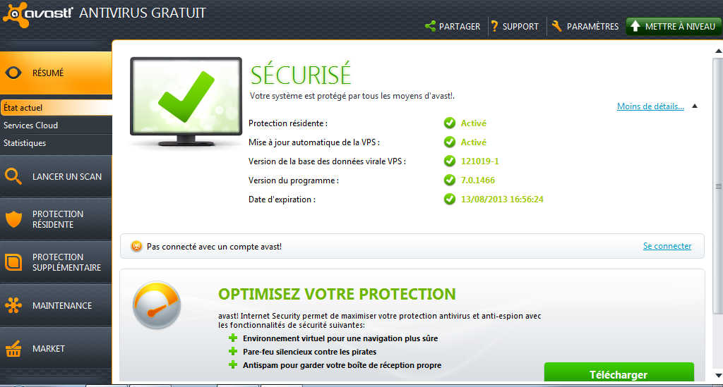interface de gestion avast