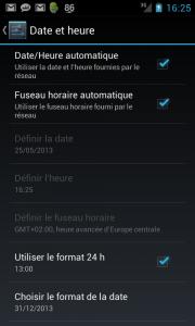 Android paramètres date et heure