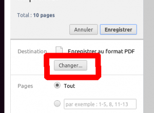 impression google chrome changer la destination
