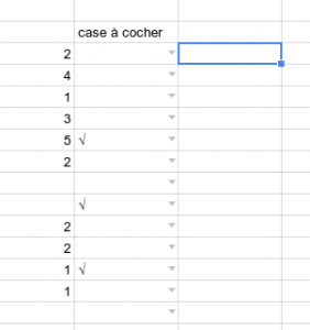 google spreadsheet case à cocher checkbox