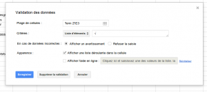 Google spreadsheet validation de données