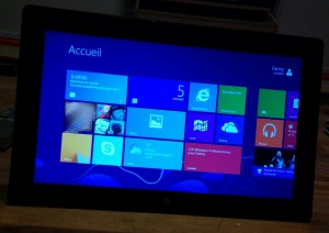 interface windows 8 RT sur tablette microsoft surface