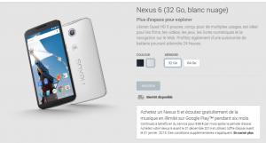 nexus 6 disponibilité