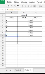 spreadsheet reporter cellules