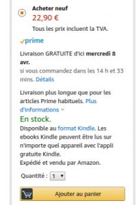 Délai de livraison Amazon au 30/03